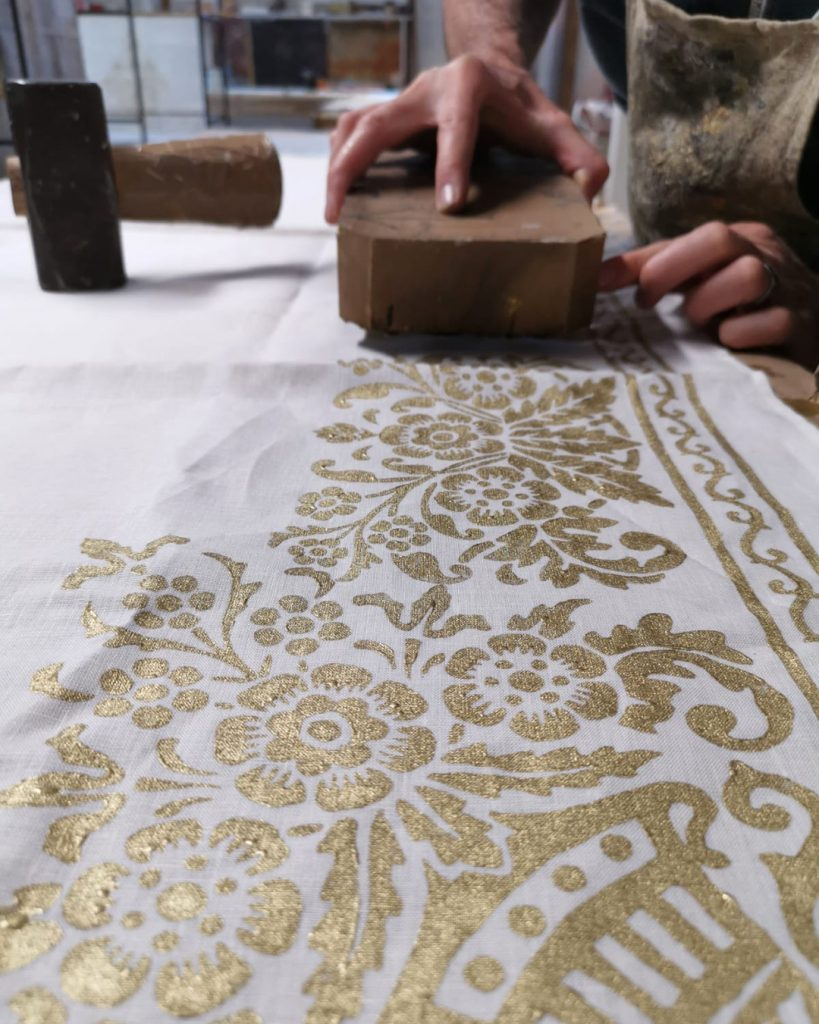 hand printing linen tablecloth