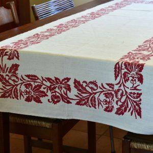 Vintage Hemp Linen Table Runner Pomegranate