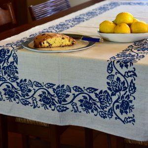 vintage hemp linen table runner in thistle blue