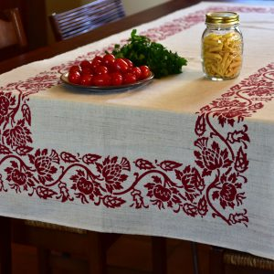Vintage Hemp Linen Table Runner Giant Thistle Red