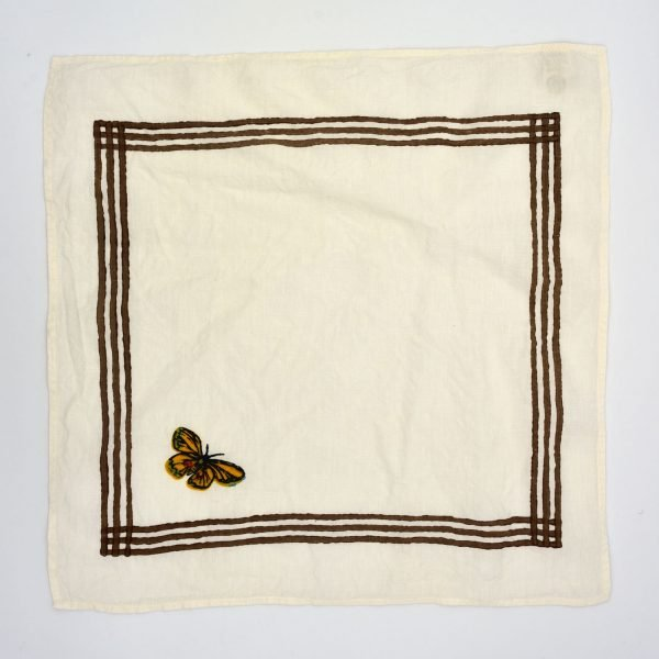 Hand printed butterfly linen napkin