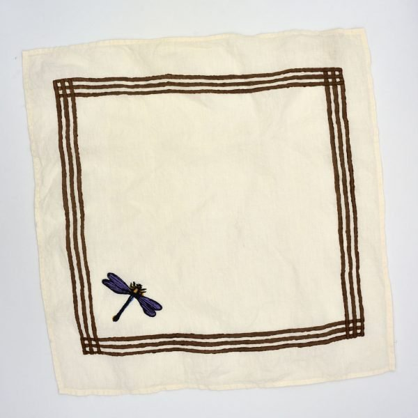 hand-printed Delicate Dragonfly organic linen napkin