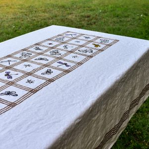 handprinted luxury linen tablecloth Flying Family