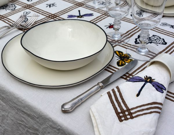 Delicate Dragonfly organic linen napkin on table