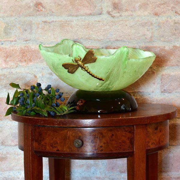 HandmadeMurano Glass Dragonfly Bowl on table