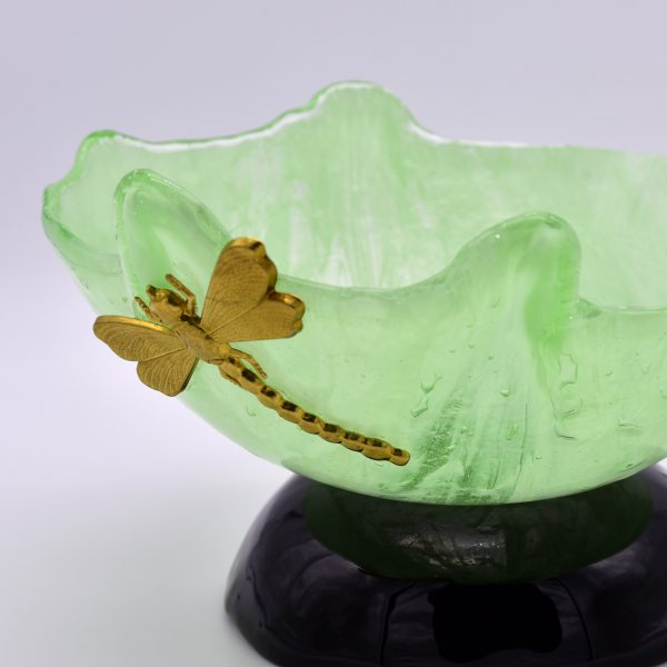 Close up HandmadeMurano Glass Dragonfly Bowl