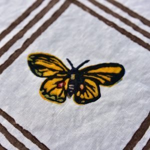 close up of handprinted butterfly napkin