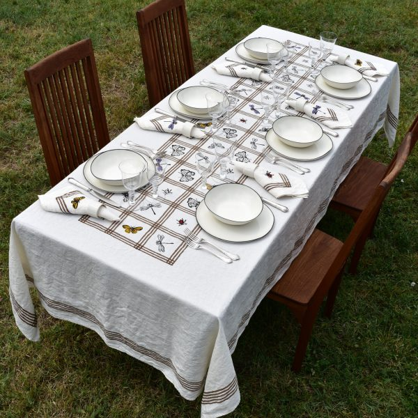handprinted luxury linen tablecloth