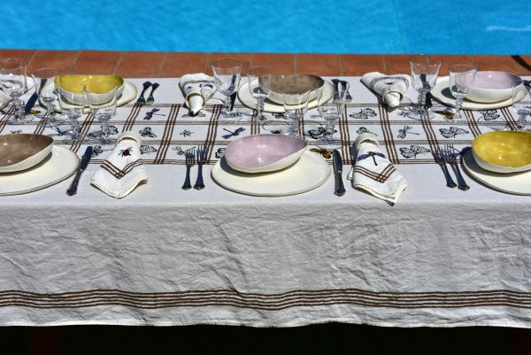 Luxury handprinted linen tablecloth for spring
