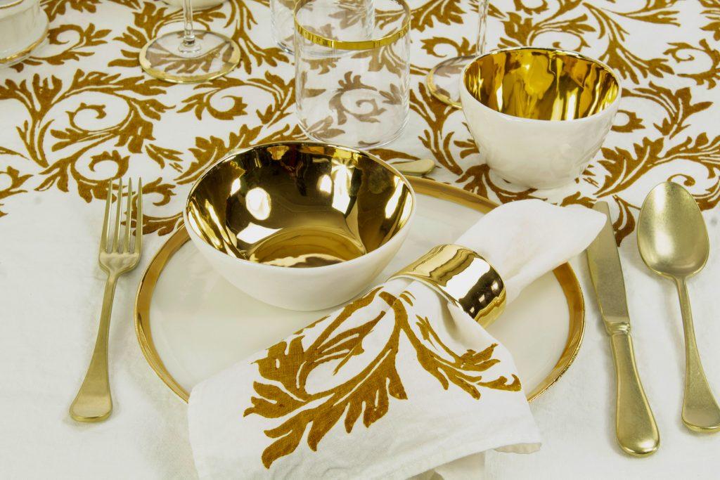 bespoke Italian linen tablecloth mustard