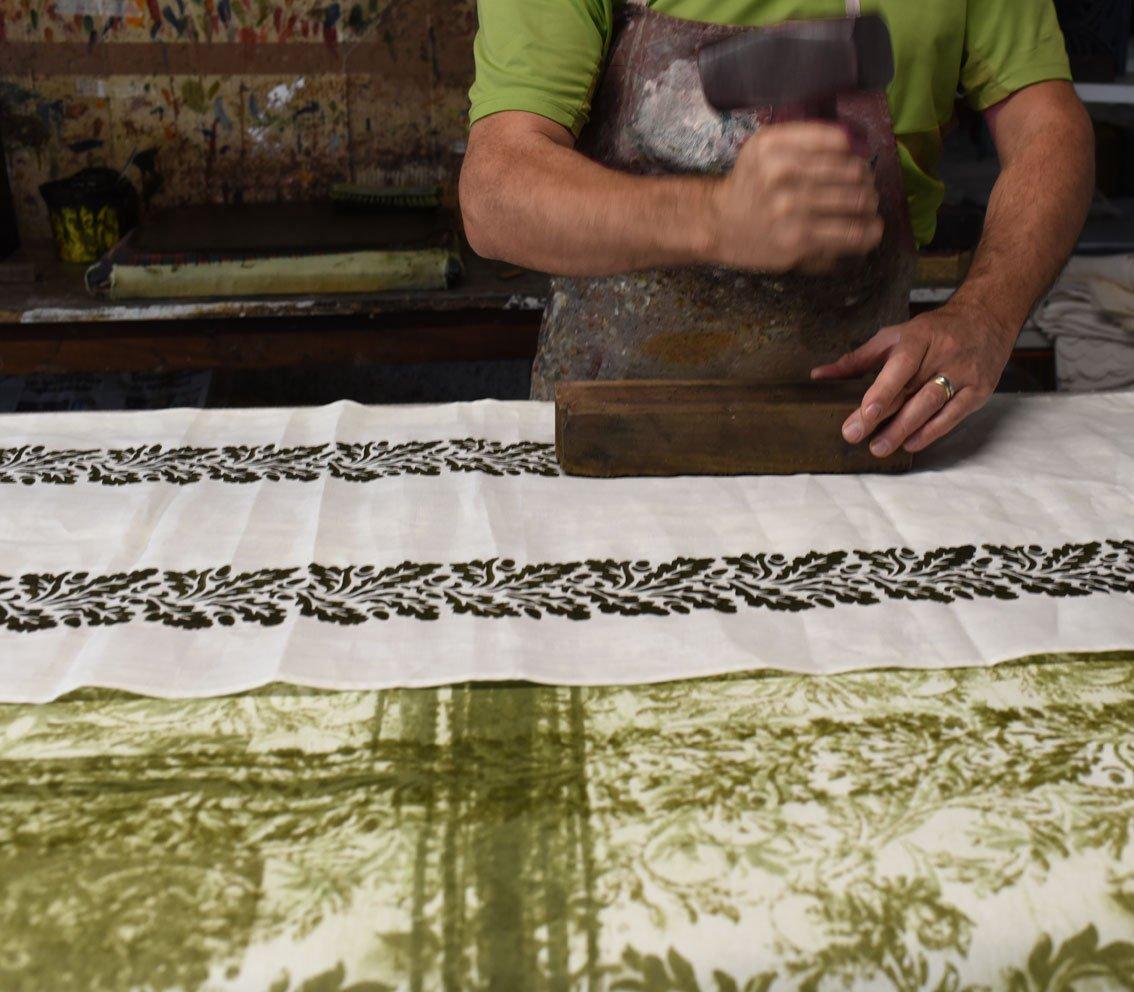 block printing a tablecloth