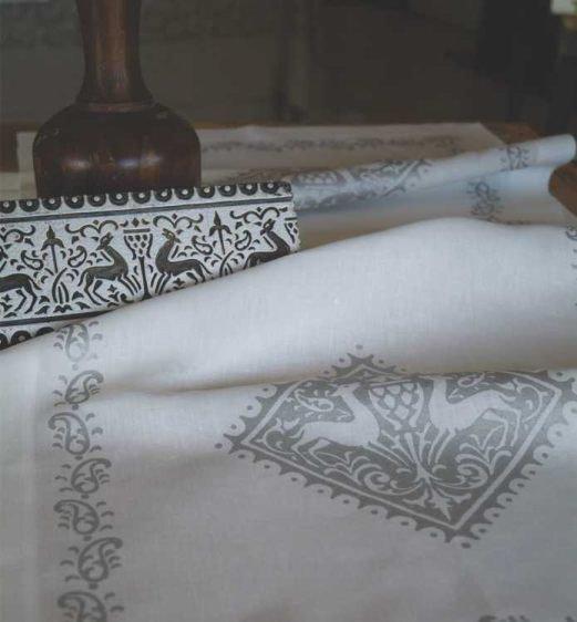 close up of handprinted bespoke linen tablecloth