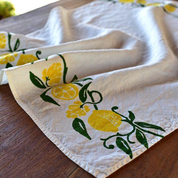 Italian linen kitchen towel lemon