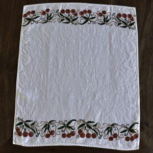 pure natural linen tea towel cherry