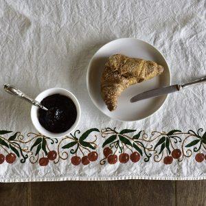 block printed linen tea towel cherries