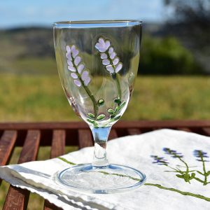 Hand-Blown Murano Glass Goblet - Lavender Flowers