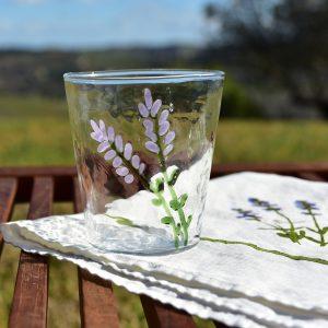Hand-Blown Murano Glass Tumbler - Lavender Flowers