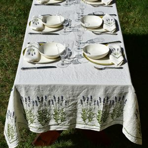 Hand-Printed Linen Tablecloth - Lavender Flowers