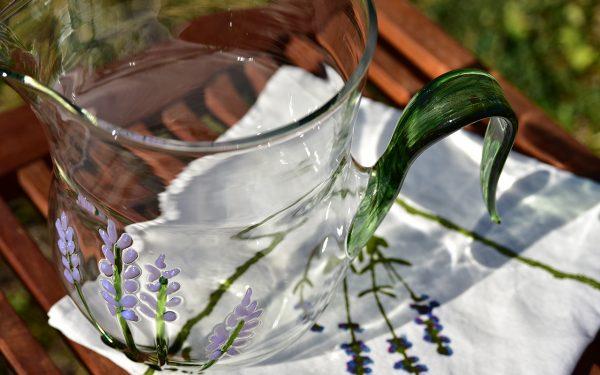 Hand-Blown Murano Glass Jug - Lavender Flowers