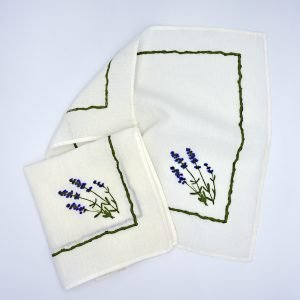 Hand-Printed Linen Napkin - Lavender Flowers