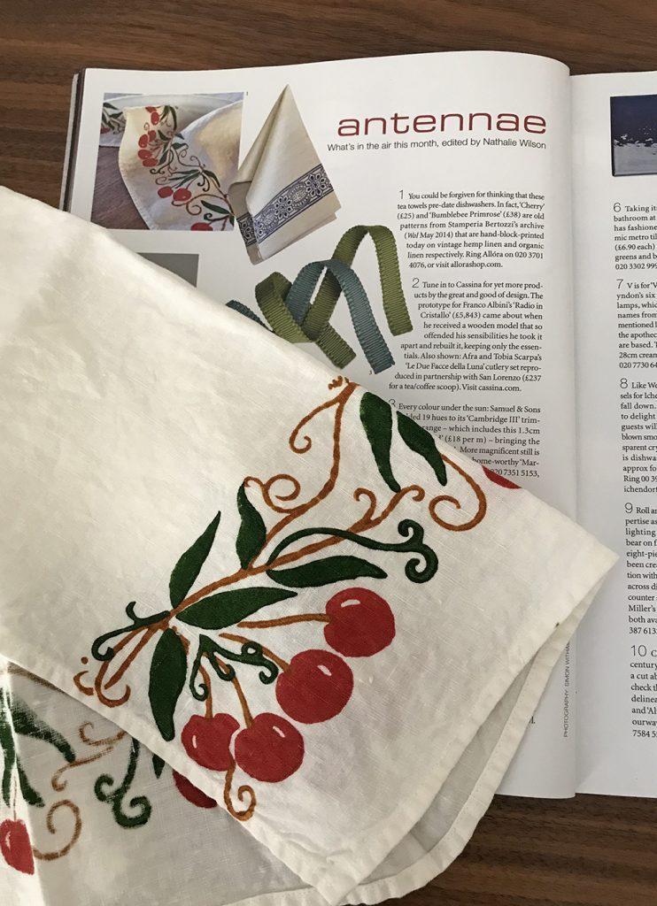 organic linen tea towel cherry
