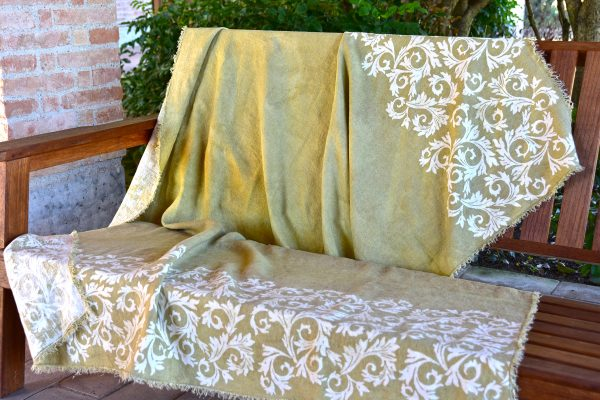 Linen Throw - Hand-painted and Hand-printed - Acanthus Leaves/Lime Green - Draped over bench