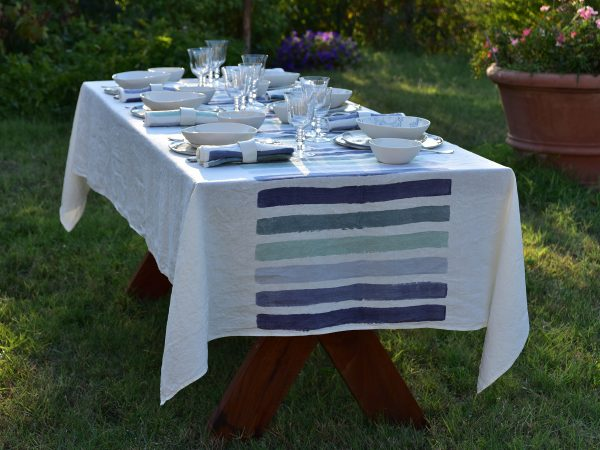 `brushstroke linen tablecloth