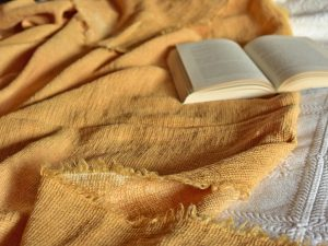 Waffle Throw - Hand-painted Linen Throw - Mustard - Throw draped over bed