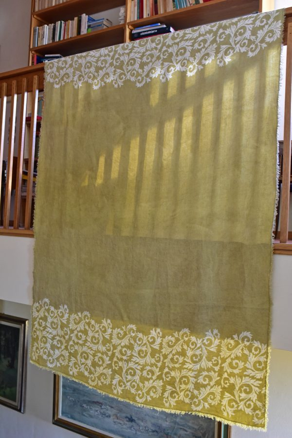 Linen Throw - Hand-painted and Hand-printed - Acanthus Leaves/Lime Green -