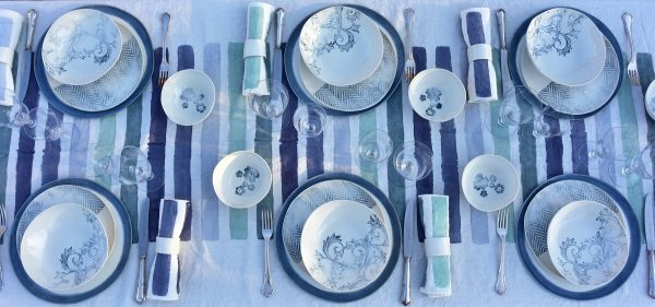 Bertozzi painted linen tablecloth