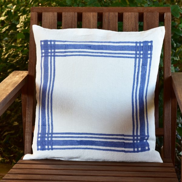 Hand printed linen cushion Gingham