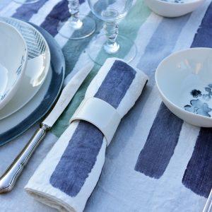 Hand-painted linen napkin - burshstroke