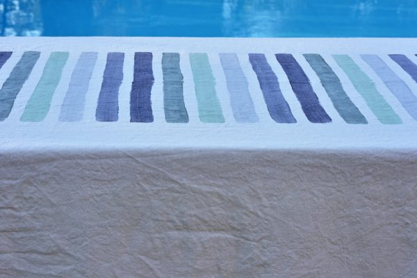 Hand painted linen tablecloth blue