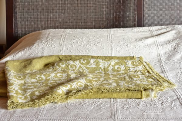 Linen Throw - Hand-painted and Hand-printed - Acanthus Leaves/Lime Green - Placed over bed