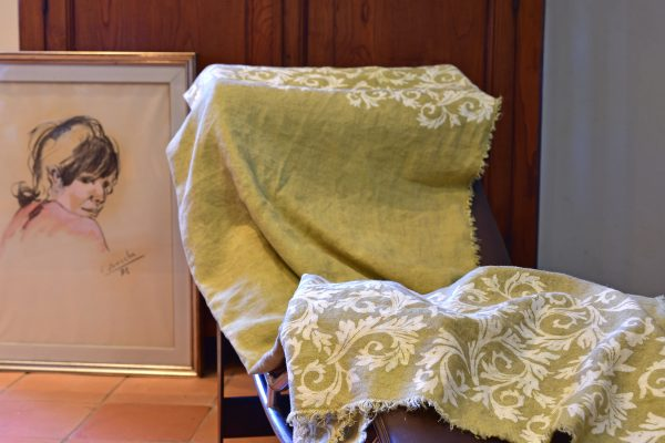Linen Throw - Hand-painted and Hand-printed - Acanthus Leaves/Lime Green - Placed over furniture