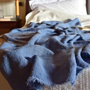 Waffle Throw - Hand-painted Linen Throw - Navy Blue - Throw draped over bed