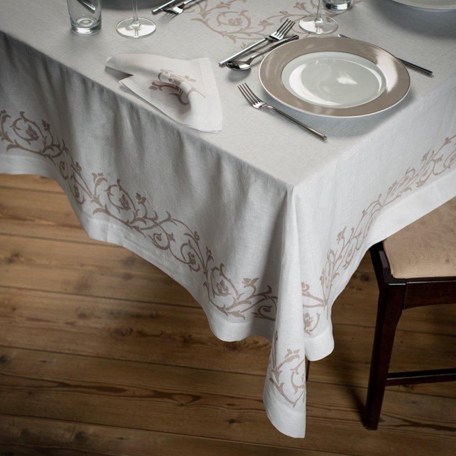 Hand-printed Italian linen tablecloth - produced by stamperia bertozzi - bocciolo design