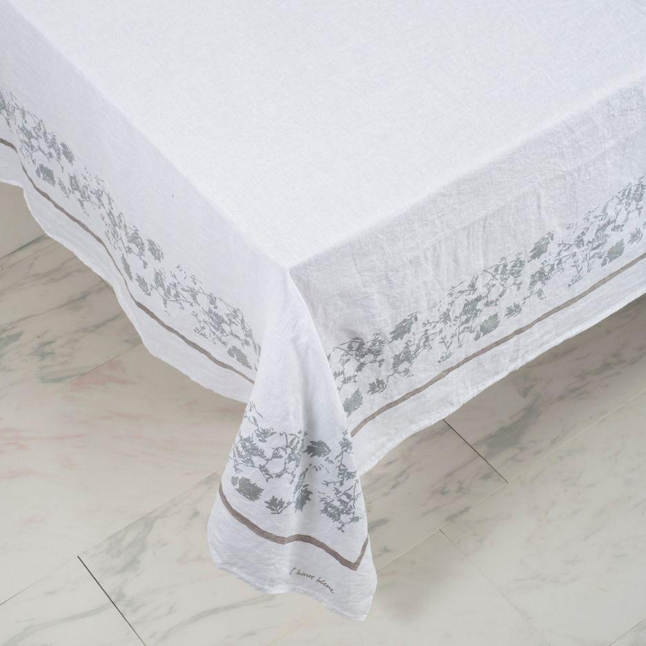 Hand-Printed Italian Linen Tablecloth – Foglia Silver design
